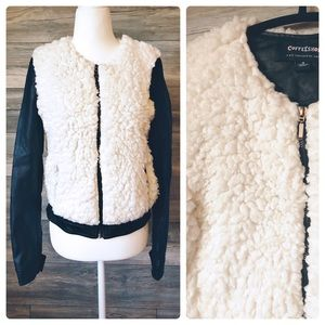 CoffeeShop faux leather shearling jacket Cream S